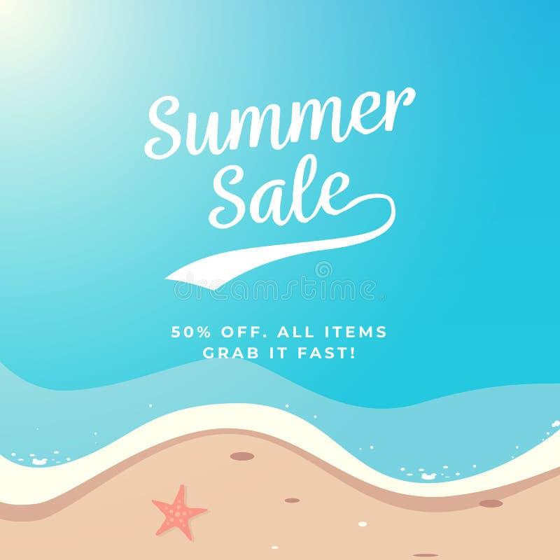 Design för vektor för sommarSale bakgrund Strandillustration för bästa sikt royaltyfri illustrationer