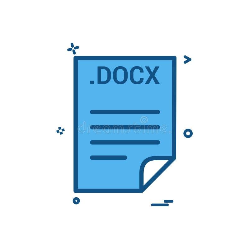 Design för vektor för symbol för format för mappar för mapp för DOCX-applikationnedladdning stock illustrationer