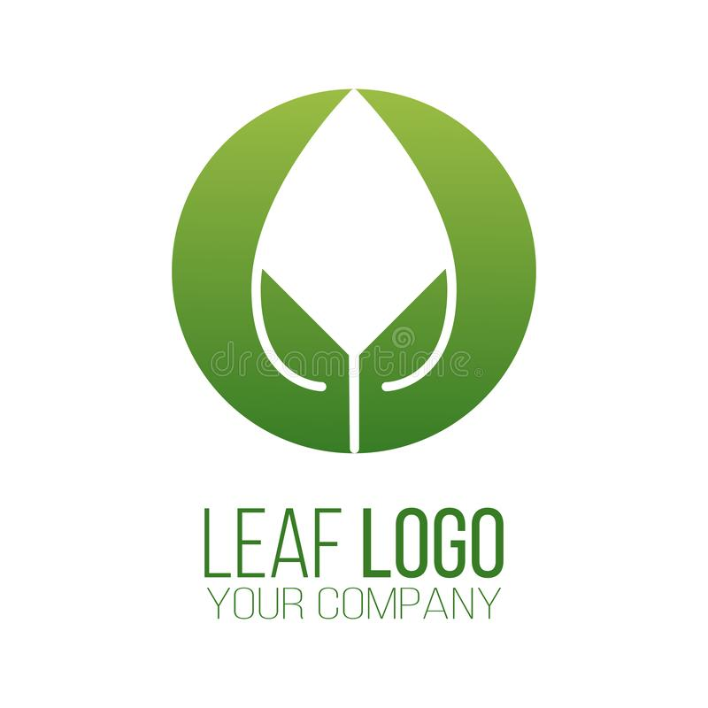Design för vektor för symbol för logo för cirkelgräsplanblad Landskapdesign, trädgård, växt-, natur- och ekologivektorlogo Ekolog stock illustrationer