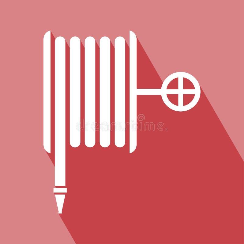 Design för vektor för symbol för rulle för brandslang plan vektor illustrationer