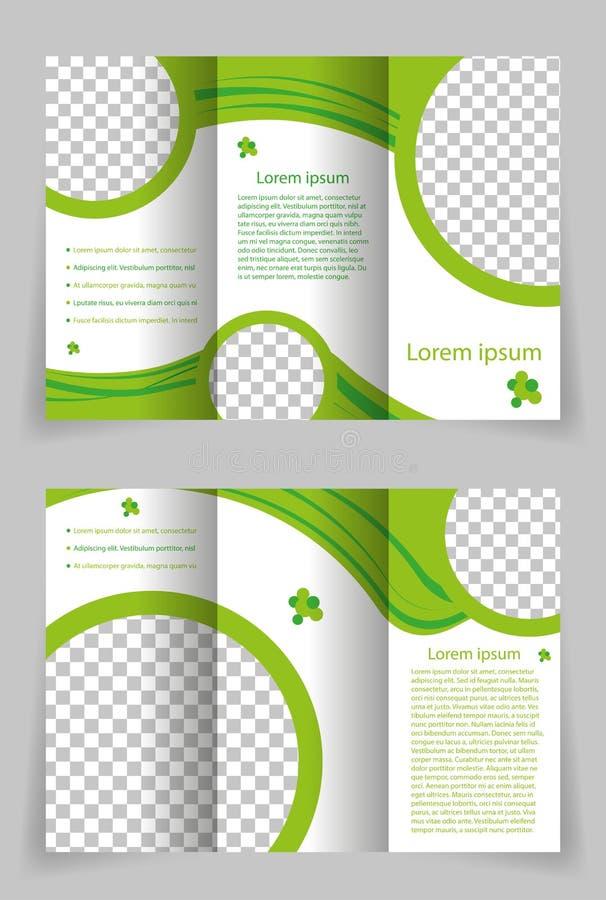 Design för vektorbroschyrmall med den gröna beståndsdelen arkivfoton