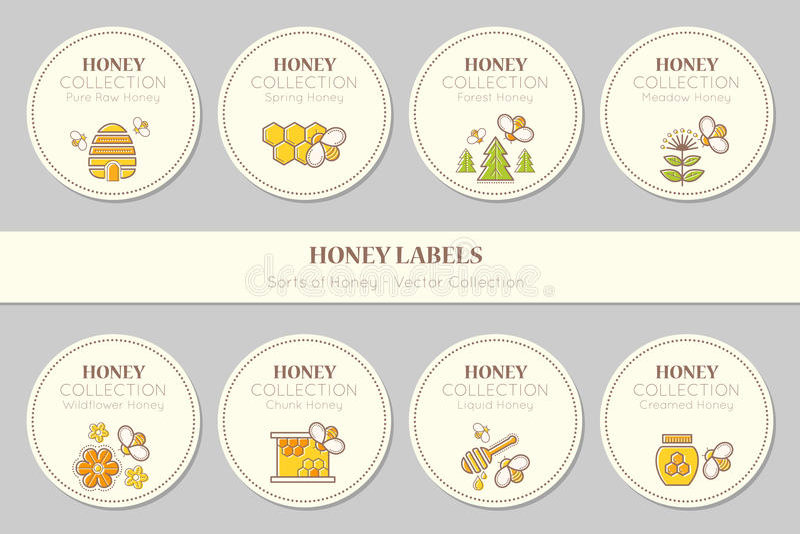 Design för vektoretikettmall - naturlig honungsamling royaltyfri illustrationer