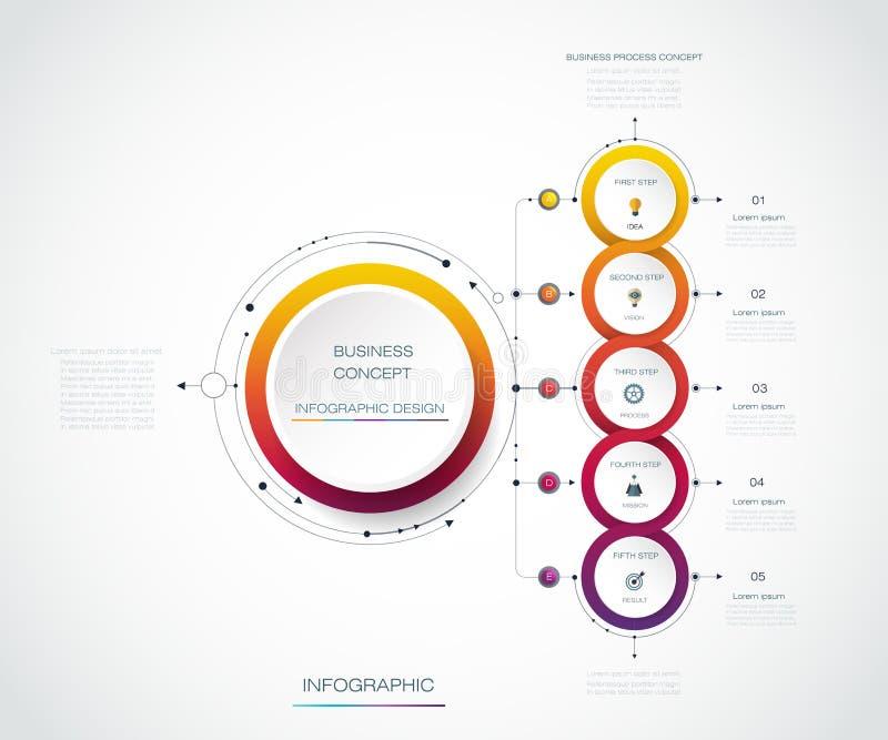 Design för vektorInfographic etikett med 5 alternativ eller moment stock illustrationer