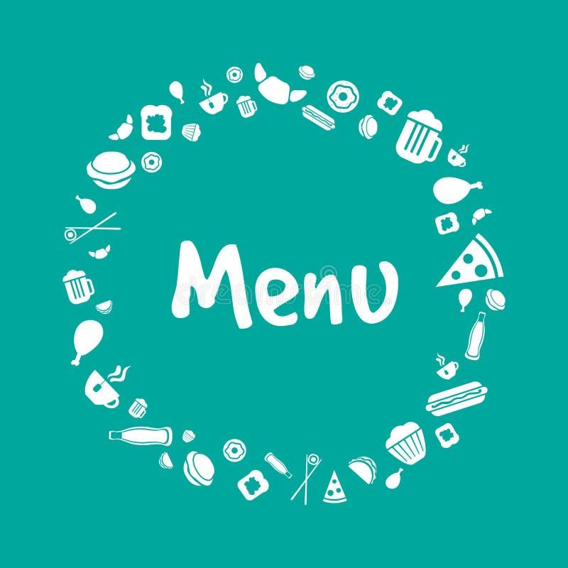 Design för vektormenyräkning med matsymboler stock illustrationer