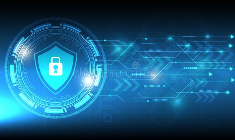 Design för vektorsäkerhetsteknologi med olikt teknologiskt på blå bakgrund stock illustrationer