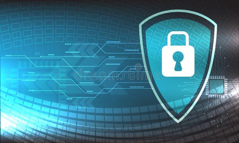Design för vektorsäkerhetsteknologi med olikt teknologiskt på blå bakgrund, mikroskepp stock illustrationer