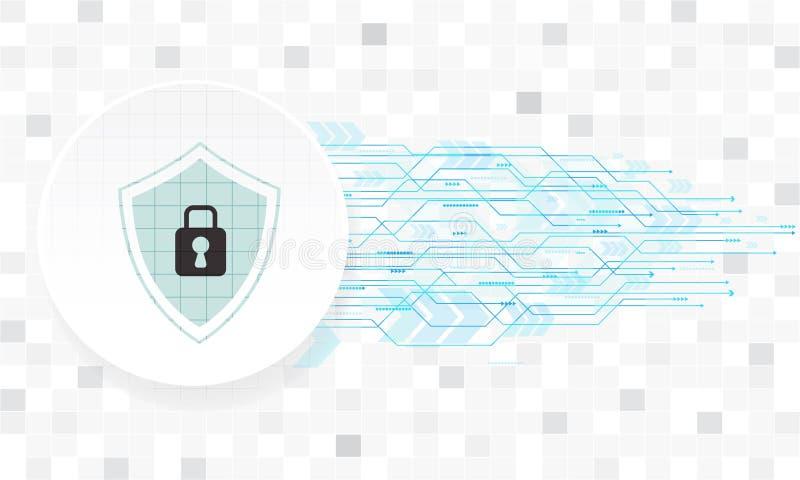 Design för vektorsäkerhetsteknologi med olikt teknologiskt på vit bakgrund royaltyfri illustrationer