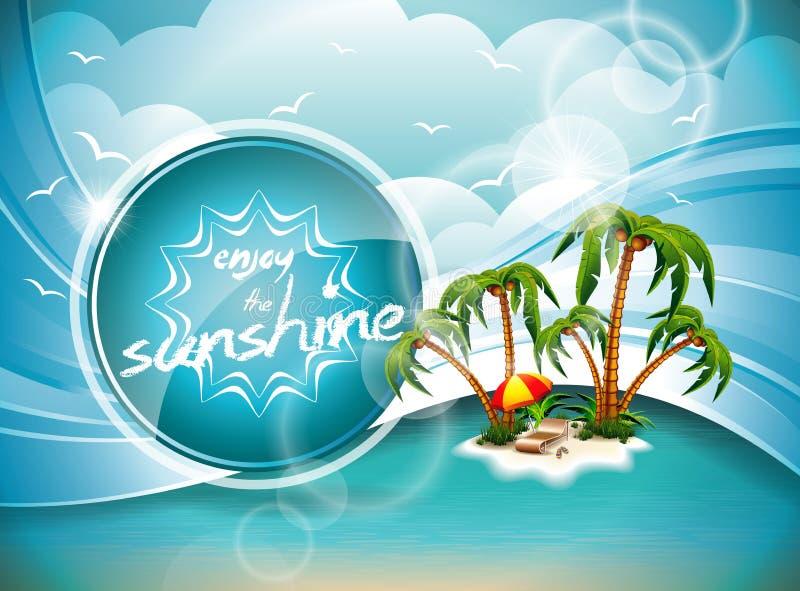 Design för vektorsommarferie med paradisön. stock illustrationer
