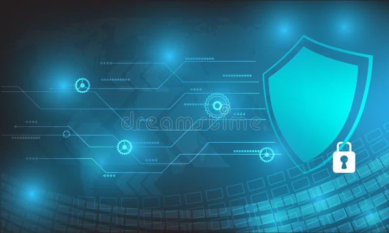 Design för vektorteknologisäkerhet med olikt teknologiskt på blå bakgrund royaltyfri illustrationer
