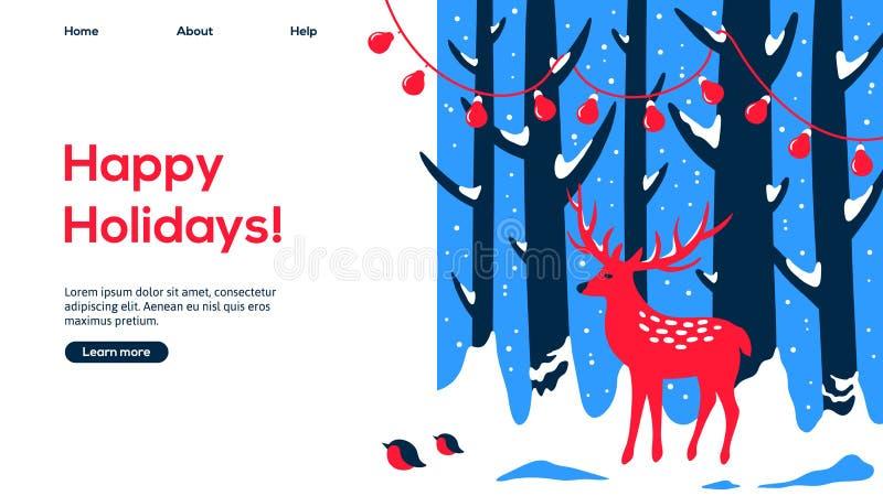 Design för webbsida för julskog och för röda hjortar royaltyfri illustrationer
