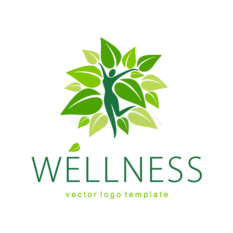 Design för Wellnessvektorlogo stock illustrationer