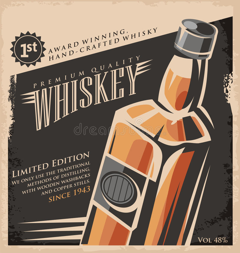 Design för whiskytappningaffisch royaltyfri illustrationer