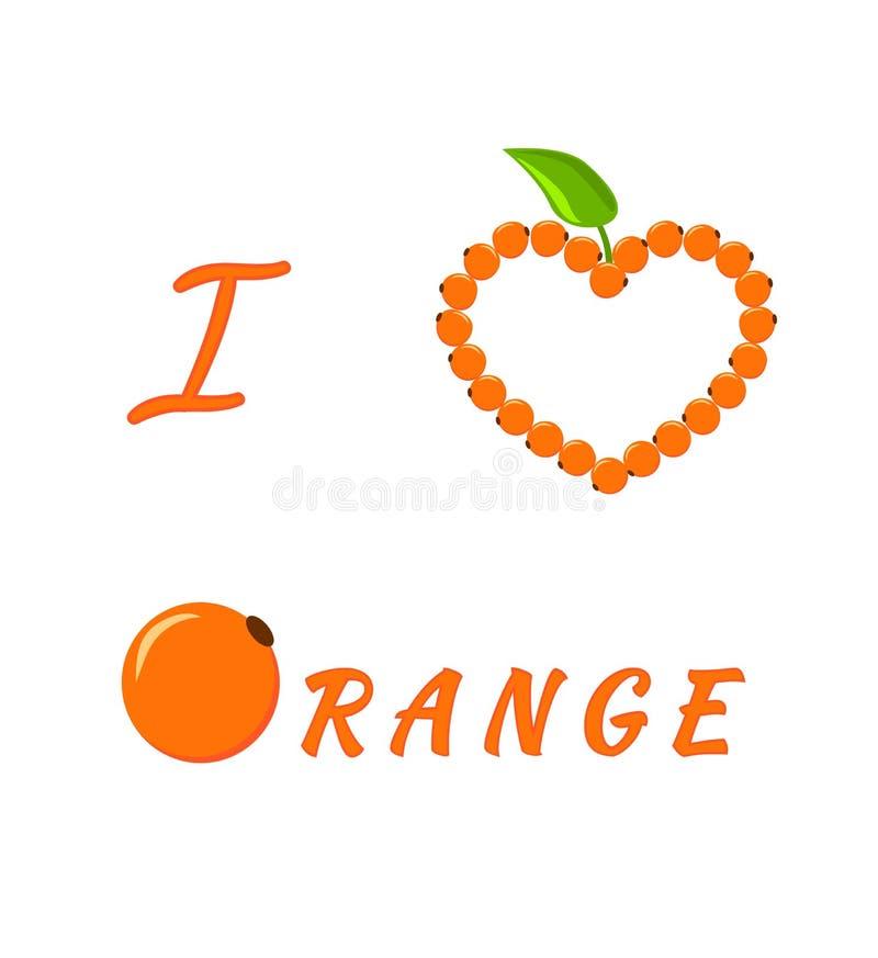 Design für eine Karte I Liebes-Orange Herz von Orangen und von grünem Blatt Die stilisierte Wort Orange vektor abbildung