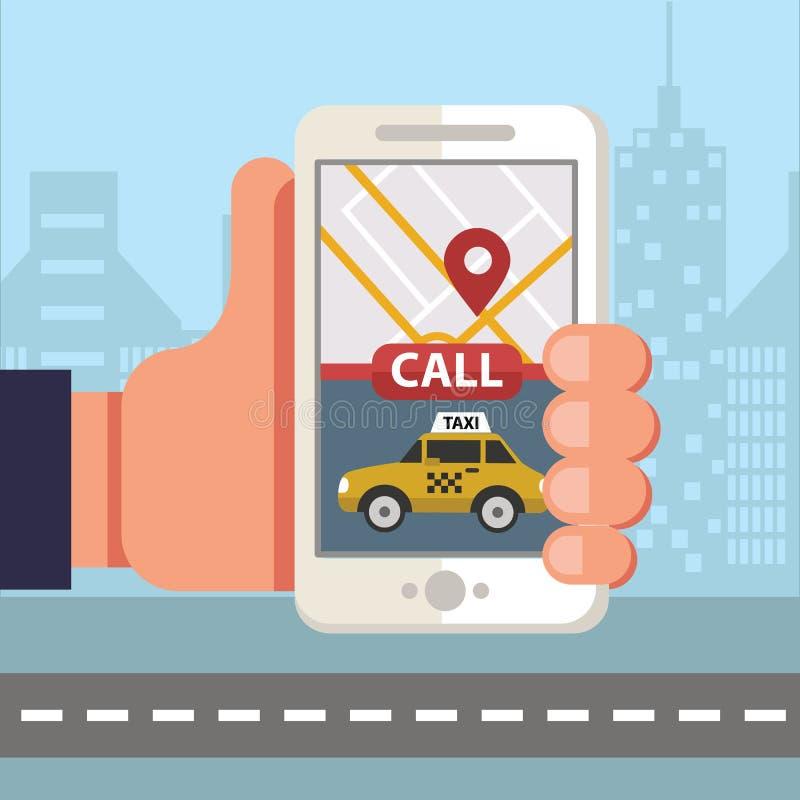 Design f?r bokningtaxionline-begrepp Stor smartphone och app för att beställa taxitaxin via den mobila appen och att betala direk royaltyfri illustrationer
