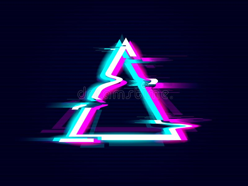 Design f?r Glitched triangelram F?rvriden modern bakgrund f?r tekniskt felstil vektor illustrationer