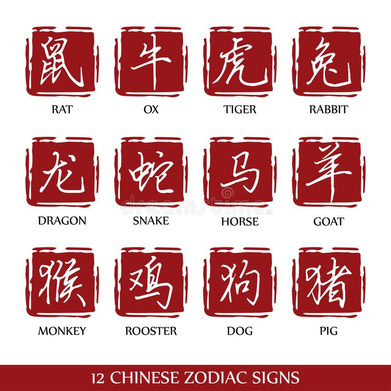 Design f?r 12 kinesisk zodiaktecken stock illustrationer
