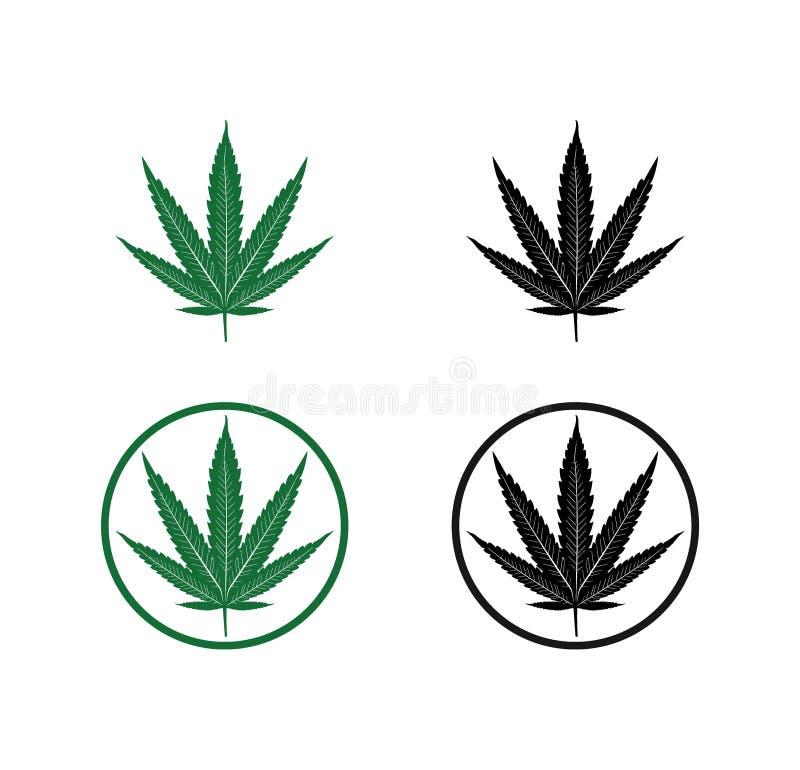 design f?r logo f?r illustration f?r kontur f?r cannabismarijuanablad royaltyfri illustrationer