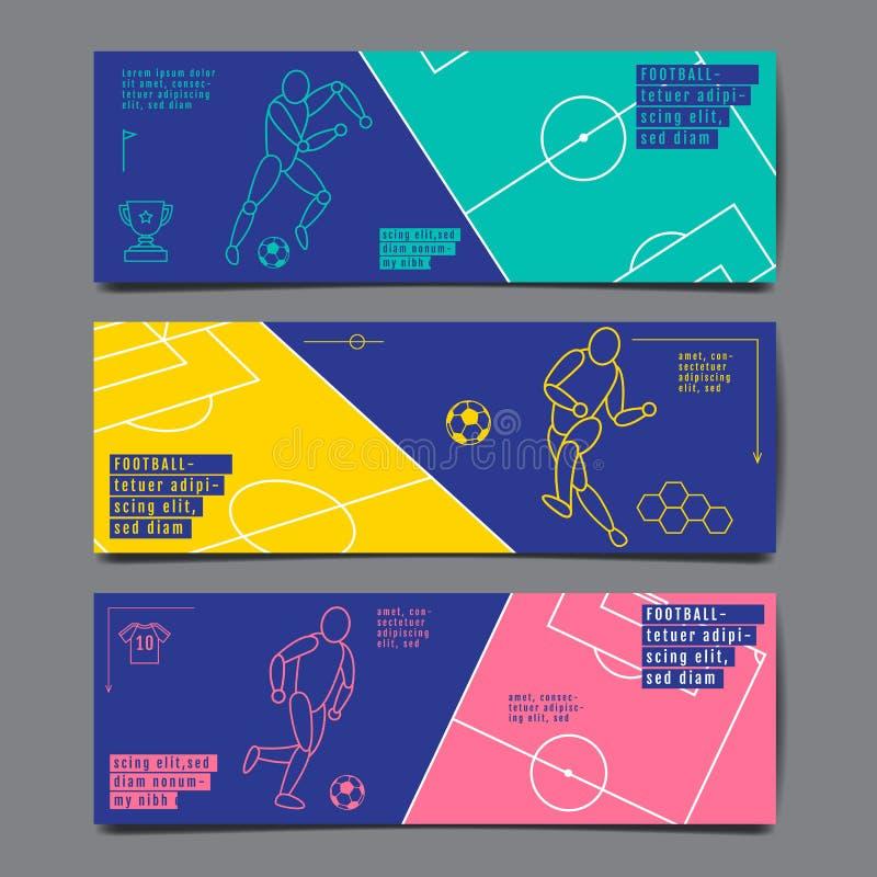 Design f?r mallsportorientering, l?genhetdesign, enkel linje, grafisk illustration, fotboll, fotboll, vektorillustration royaltyfri illustrationer