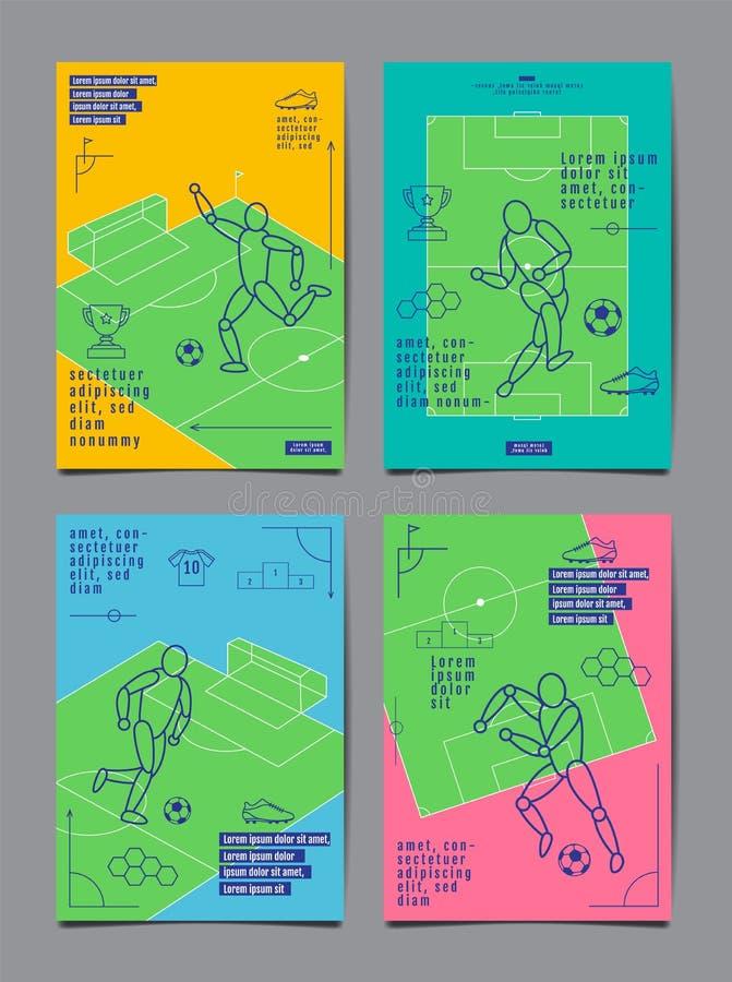 Design f?r mallsportorientering, l?genhetdesign, enkel linje, grafisk illustration, fotboll, fotboll, vektorillustration vektor illustrationer