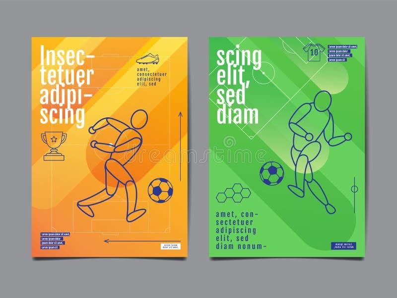 Design f?r mallsportorientering, l?genhetdesign, enkel linje, grafisk illustration, fotboll, fotboll, vektorillustration stock illustrationer