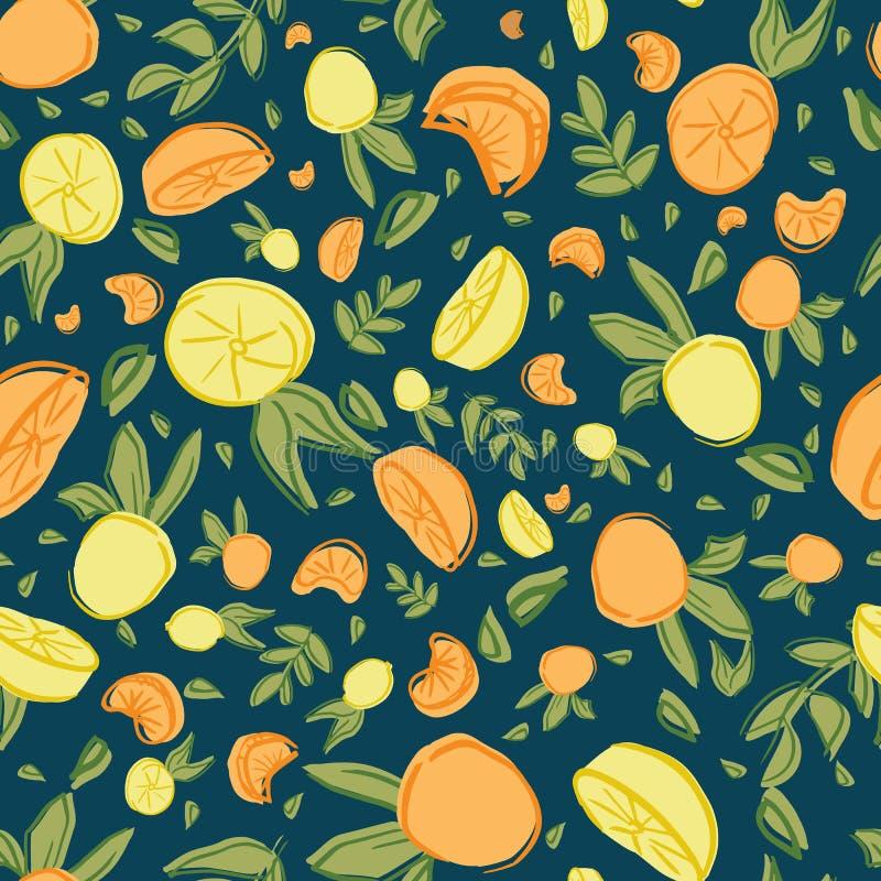 Design f?r modell f?r repetition f?r orange blad f?r citron s?ml?s royaltyfri illustrationer