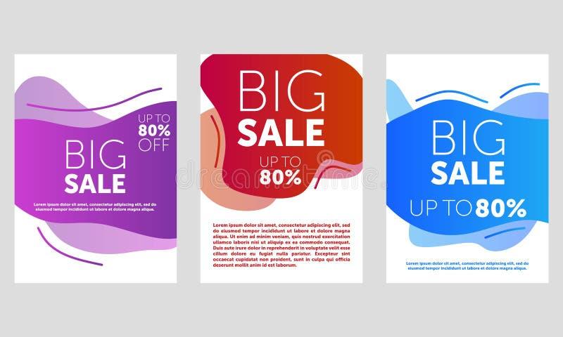 Design f?r Sale banermall, stor f?rs?ljningssakkunnig upp till 80% av Toppna Sale, slut av banret f?r specialt erbjudande f?r s?s royaltyfri illustrationer