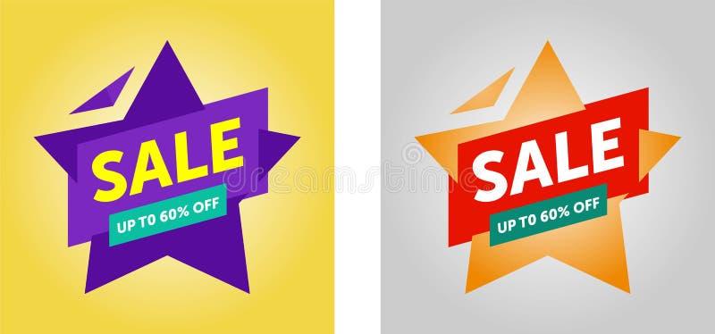 Design f?r Sale banermall vektor stock illustrationer