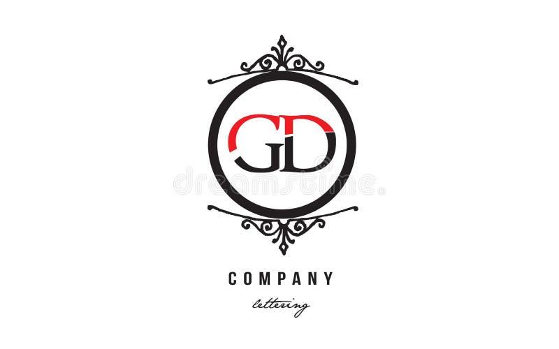 Design f?r symbol f?r kombination f?r logo f?r bokstav f?r alfabet f?r monogram f?r GD-G D r?d vit svart dekorativ royaltyfri illustrationer