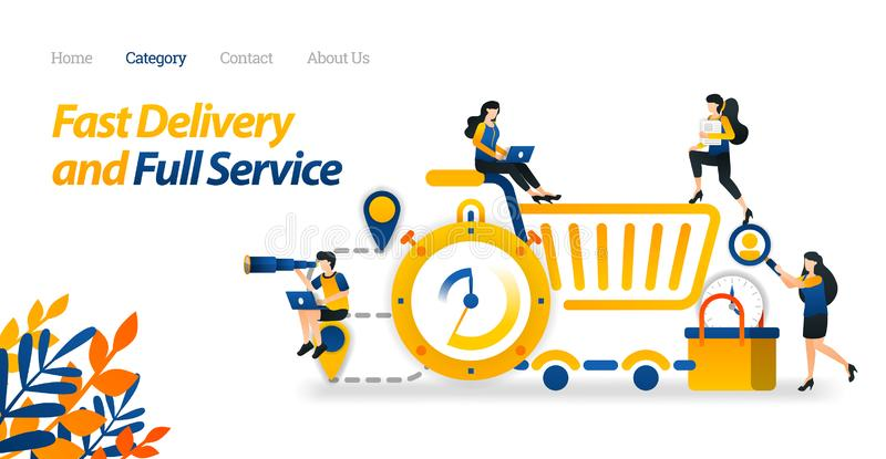 Design Fast Delivery and Full Service With Pin, Stopwatch, Shopping trolley and basket. Vector Illustration Flat Icon Style ads stock illustration