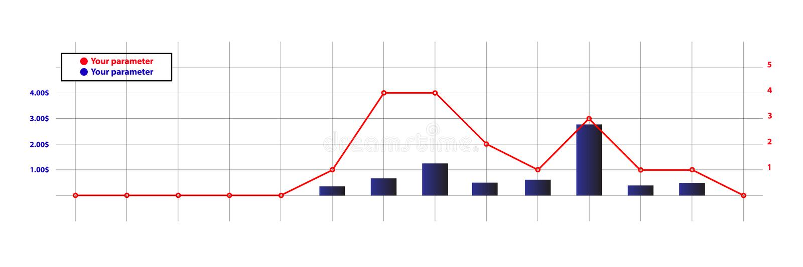 Design financial diagramm. Up and down workpiece stock illustration