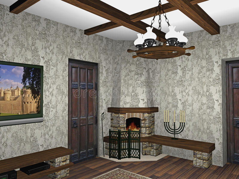 Download Design of fireplace room stock illustration. Image of forging - 10786331