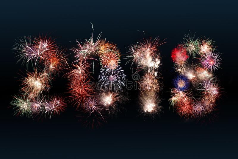 Design of 2018 firework. Design of 2018 new year digits composed from fireworks royalty free stock photography