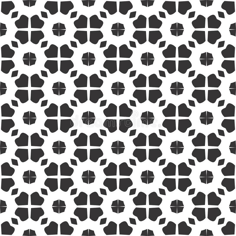 Design floral abstrato preto e branco do caleidoscópio do vetor, teste padrão sem emenda ou projeto ilustração stock