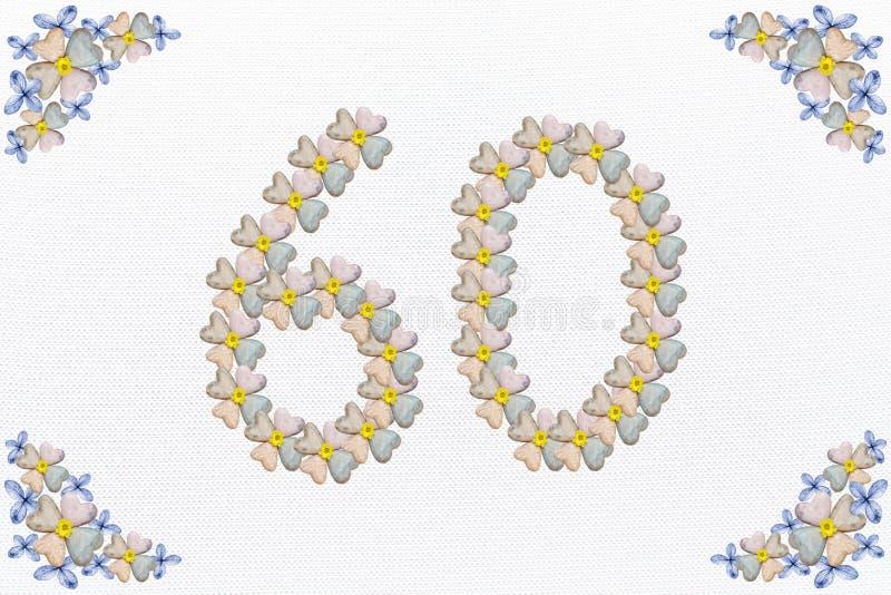 Design floral do vintage com flor e corações, aniversário 60 imagem de stock royalty free