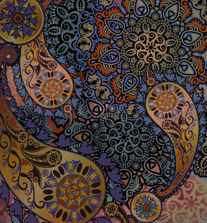 Design floral indiano do motivo no fundo gasto ilustração royalty free
