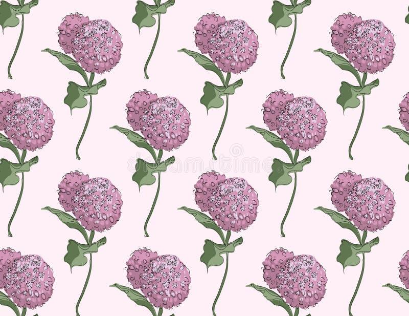 Design floral sem emenda do vetor do teste padrão com o syriaca do asclepias da flor em pálido - fundo cor-de-rosa ilustração royalty free