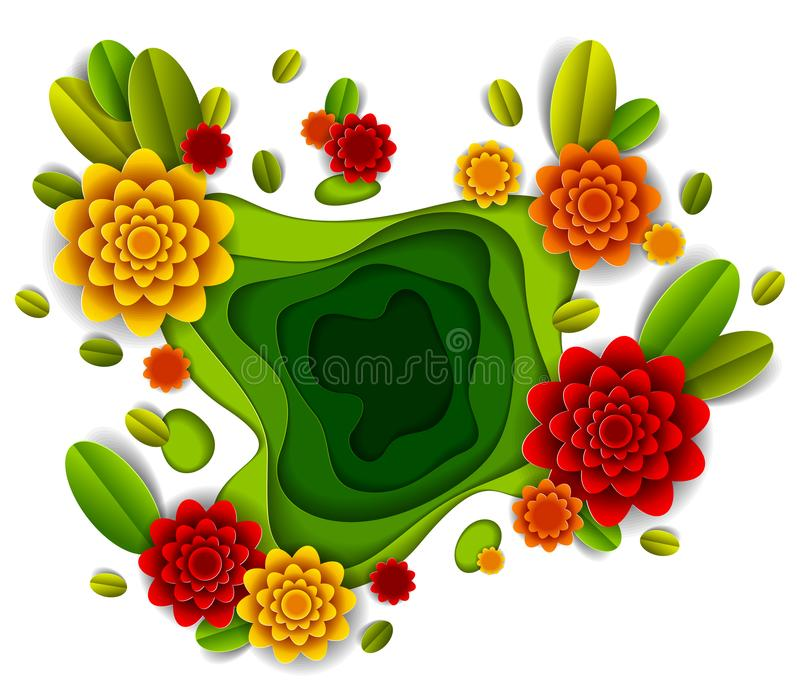 Design with flowers and leaves paper cut style, vector floral illustration. stock illustration
