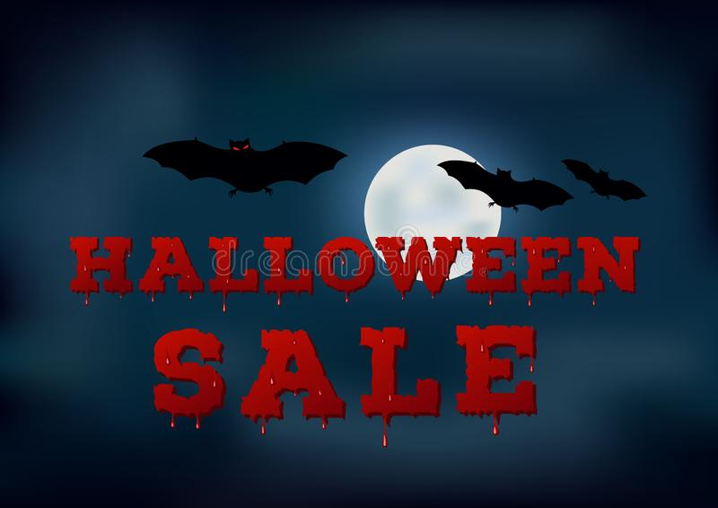 Design of the flyer with halloween sale inscription on blue background. Template of poster with full moon on night sky. Design of the flyer with halloween sale royalty free illustration