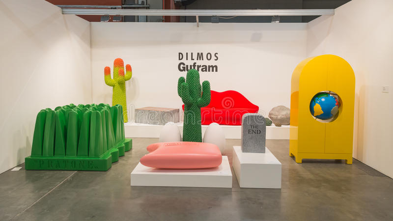 Design furniture at Miart 2015 in Milan, Italy stock photography