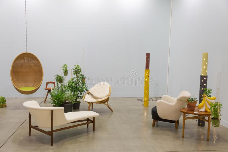 Design furniture at Miart 2018 in Milan, Italy royalty free stock photography