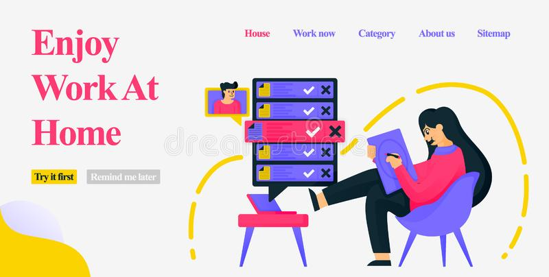 Design a girl sitting in a home chair casually and working as a freelancer by designing, getting orders and meeting clients on the royalty free illustration