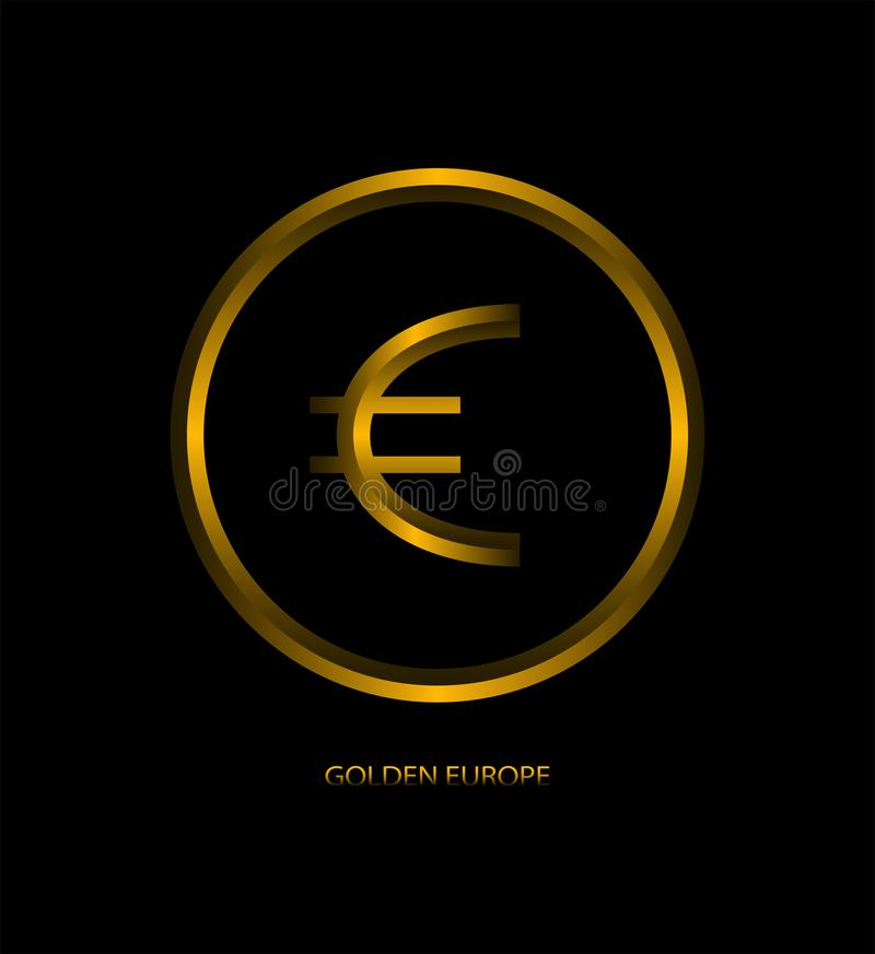 Design gold coin euro. Logo design, emblem. Money symbol icon for apps, web sites and business industry. Metal abstract contour. Gold European coin on a black stock illustration