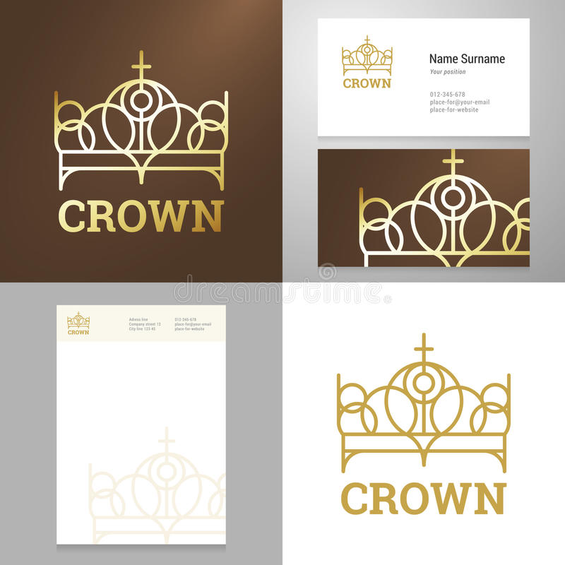 Design gold crown icon logo element with Business card vector illustration