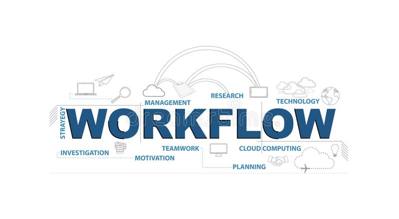 Design-Grafikkonzept des Arbeitsflusstextes infographic vektor abbildung