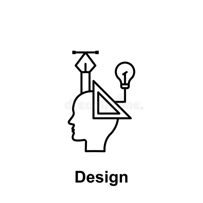 Design, graphic, head icon. Element of creative thinkin icon witn name. Thin line icon for website design and development, app royalty free illustration
