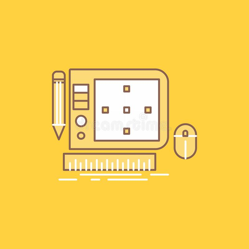 design, Graphic, Tool, Software, web Designing Flat Line Filled Icon. Beautiful Logo button over yellow background for UI and UX, vector illustration