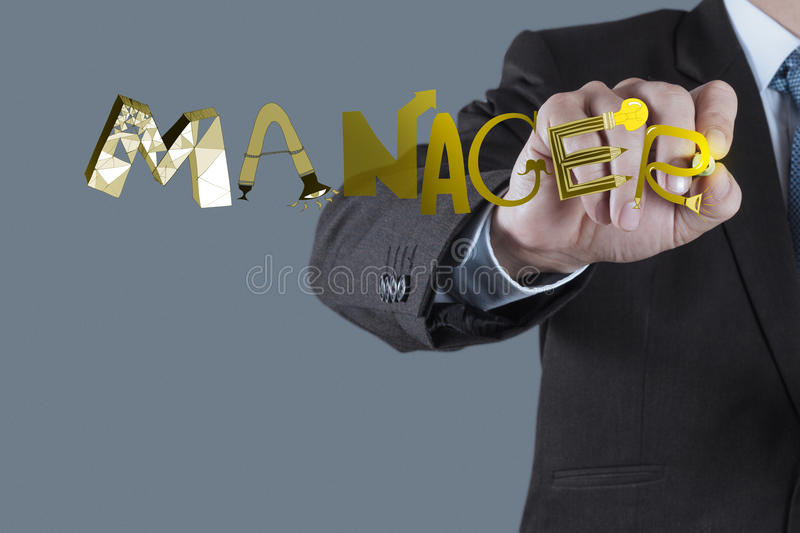 Design graphic word MANAGER as concept. Businessman hand drawing design graphic word MANAGER as concept royalty free stock photos