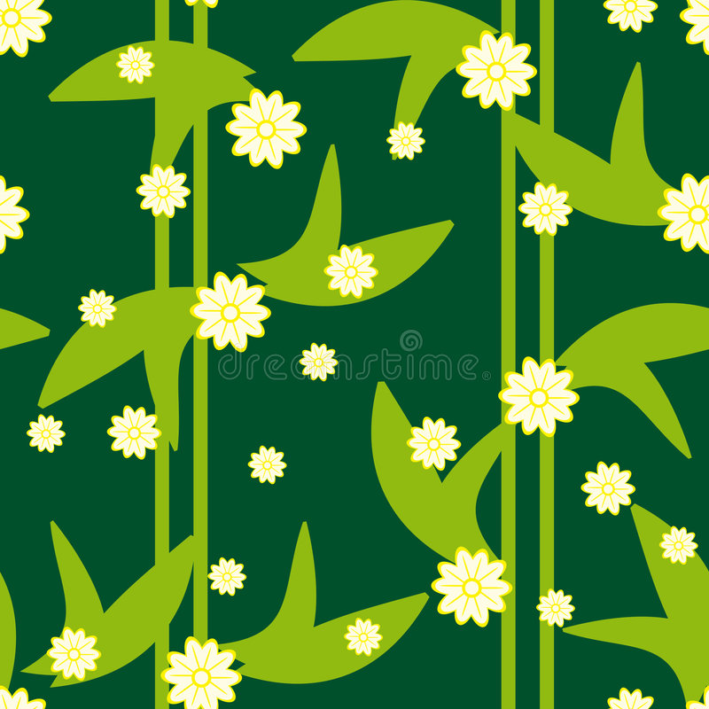 Design green floral seamless pattern with flowers royalty free stock photos