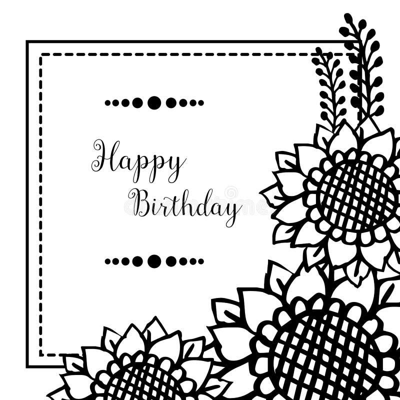 Design greeting card happy birthday, texture cute flower frame. Vector. Illustration royalty free illustration
