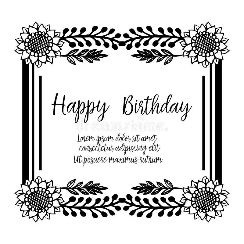 Design greeting card happy birthday, texture cute flower frame. Vector. Illustration vector illustration